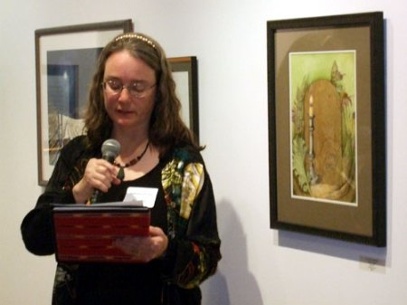 "Reading ""Facing Forward"" at the Mark My Words reception"