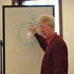 Roger Buhr, teaching a hedebo workshop at Vesterheim Norwegian-American Museum.