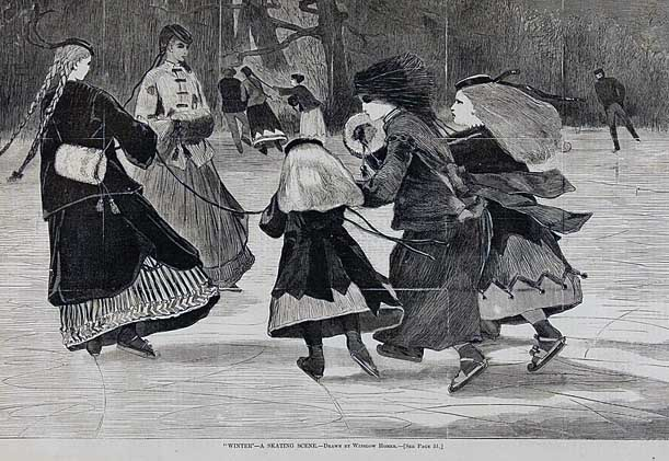 Can you imagine ice skating in a long skirt, and a wool cape instead of a down-filled parka?  This painting depicts a scene about 50 years after my story,  but it reminds me of  Caroline and her friends.  (Winslow Homer)