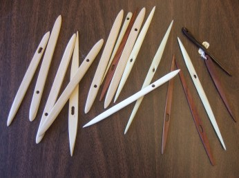Examples of Nålbinding needles.  Kate urged us to try different kinds, and choose one that felt good in our hand.