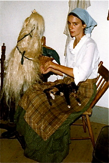I'm spinning flax at the 1860 Schulz House in the German area, back in 1983.