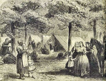 This newspaper illustration portrays a refugee camp.