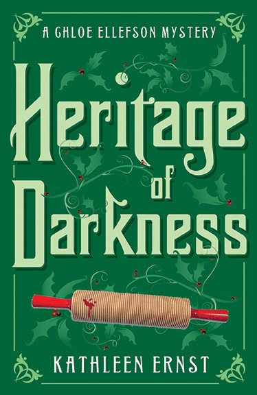 Front cover of Heritage of Darkness, the fourth Chloe Ellefson mystery book by bestselling author Kathleen Ernst, published by Midnight Ink Books.