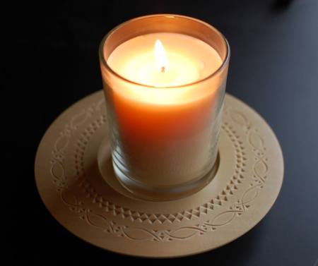 This chip carved candle plate was made by my friend Ellen.
