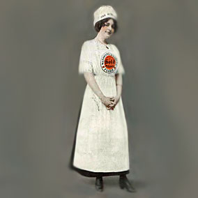 Female worker as depicted in an early ad.  Author's collection.