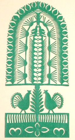 Polish Paper Cutting (Wycinanki), early 20th century The tree of life motif and monochromatic scheme suggest that this paper cutting represents the Kurpie or Lasek regions of Poland. Gift of Mrs. Maria Laskowski.  Wisconsin Historical Museum object # 1956.4630a