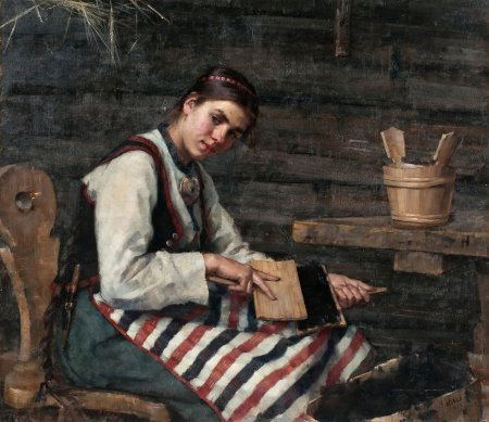Maria-Wilk-Girl-Carding-Wool