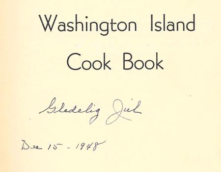 Washington Island  Cook Book inscription