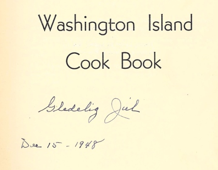 Washington Island  Cook Book inscription
