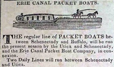 Erie Canal Packet Boats -- from: American Traveller, Boston, May 30, 1828
