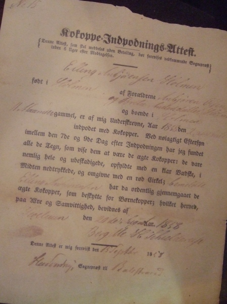 Document on display at Vesterheim.