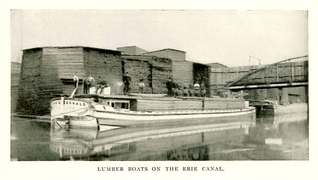 Lumber Boats on the Erie Canal -- from: Forest Preservation in the State of New York / by Cuyler Reynolds.  In: The New England Magazine (Boston : Warren F. Kellogg), New series, vol. XIX, no. 2, Oct. 1898