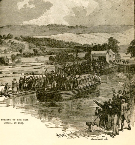 Opening of the Erie Canal, in 1825  / [drawing by] A.R.W. ; [engraved by] Swinton So. -- From an unidentified history text, p. 167 ; approx. 1890?