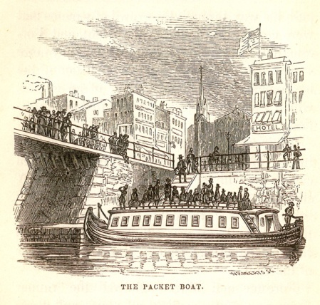 The Packet Boat -- from: Marco Paul's Travels on the Erie Canal / Jacob Abbott (Harper & Brothers, 1852) p. 44