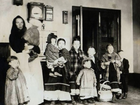 Polish Mother and 9 children. NPS - Ellis Island