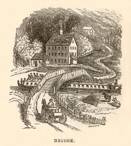 Bridge [with packet boat] / by W. Roberts (from:  Marco Paul's voyages & travels, Erie Canal / by Jacob Abbott. -- Harper & Brothers (New York), c1852. -- p.71)