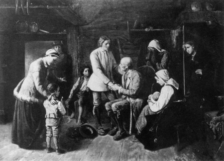The Emigrants by S. V. Helander (1839–1901): a young farmer bids a sober farewell to friends and relatives. (Swedish)