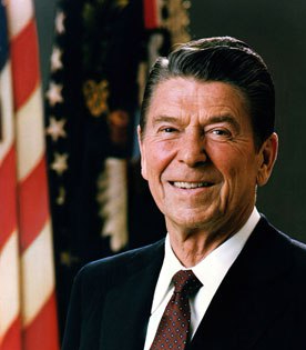 US President Ronald Reagan official portrait.