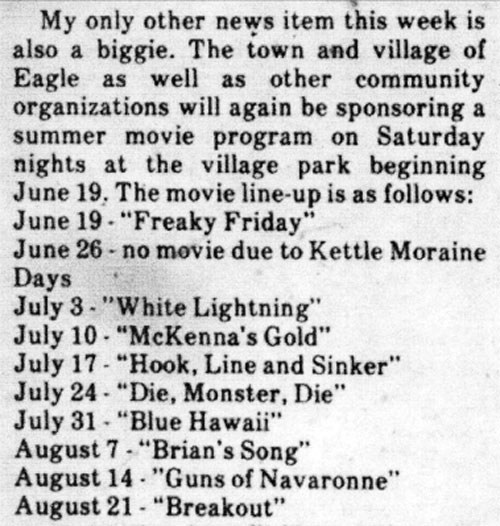 newspaper clipping about film schedule for 1982 Summer Movie program in the Village of Eagle, Wisconsin, 1982.