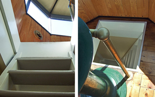 Pair of color photos of the stairs leading up to the floor hatch in the lightroom at the top of the Pottawatomie Lighthouse on Rock Island, Wisconsin.