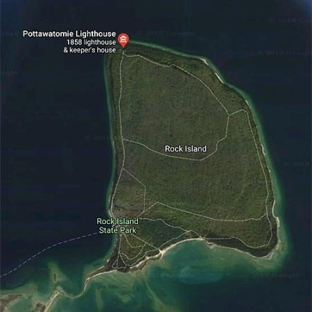 Google Satellite map of Rock Island, WI.
