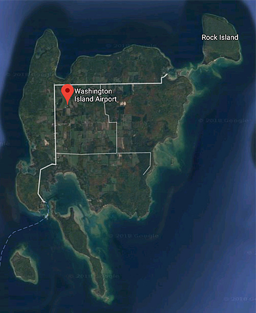 Google satellite map of Washington Island, WI.