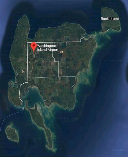 Google satellite map of Washington Island, WI.