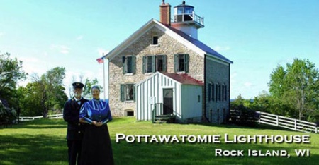 "Color photo by Kay Klubertanz of author Kathleen Ernst and ""Mr. Ernst"" serving as docents at the 1858 Pottawatomie Lighthouse on Rock Island, Wisconsin."