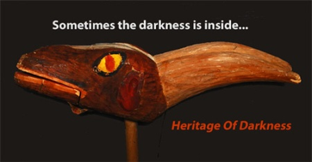 "Image of a wooden Norwegian goat head (Julebukk) with the caption ""Sometimes the darkness is inside."""