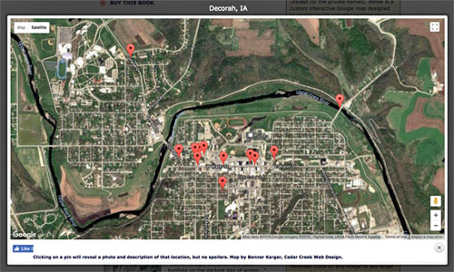 Screen grab of a custom, interactive Google map of Decorah IA with pins marking where key scenes in HOD are located.