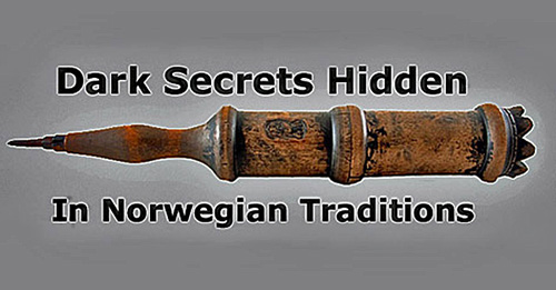 Image of a Norwegian wooden message tube (Budstikke) surrounded by text stating Dark Secrets Hidden In Norwegian Traditions.