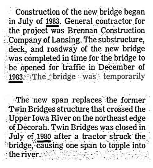 "Excerpts from The Decorah Journal Newspaper June 21, 1984 article entitled ""City, County cut ribbon to open new bridge."""