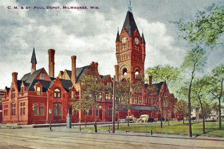 Postcard of the the C. M. & St. Paul Railroad Deport in Milwaukee, circa 1900.