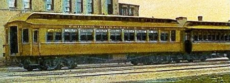 Image clipped from 1910 postcard showing the type of railroad passenger cars that Lidia rode.