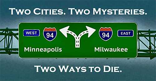 Interstate 94 Highway sign for West to Minneapolis and East to Milwaukee.