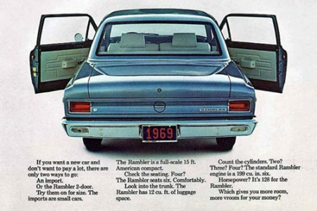 1969 Rambler sedan print ad by the American Motors Corporation.