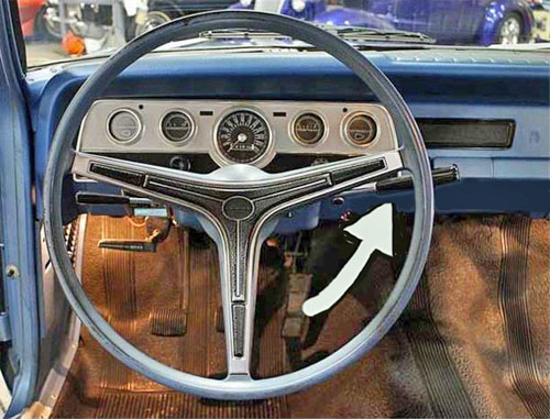 Driver's seat view photo of steering wheel and instruments of a 3-speed AMC Rambler. Image by GR Auto Gallery, edited by Scott Meeker.