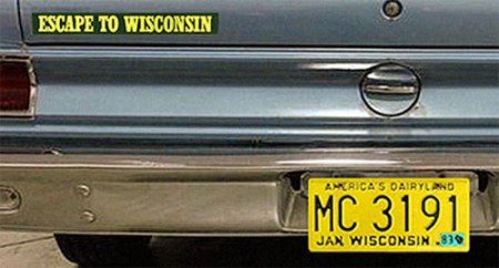 Escape To Wisconsin bumpersticker graphic by Scott Meeker.
