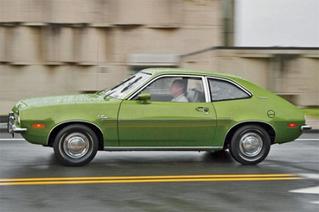 Photo of a green Ford Pinto by Julia LaPalme.