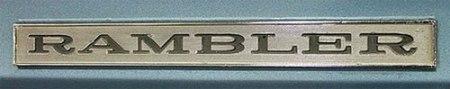 Photo of 1969 AMC Rambler sedan chrome plate. Image by GR Auto Gallery.