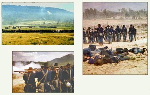 Three photos of a reenactment of the Civil War Battle of Chickamauga, Georgia.