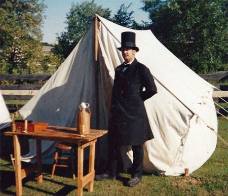Reenactor in top hat and tails ready to enlist men in the Union Army. Photo courtesy of John Wedeward.