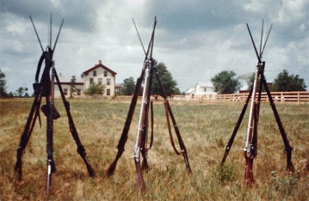 Three stacks of Civil War muskets at Old World Wisconsin. Photo courtesy of John Wedeward.