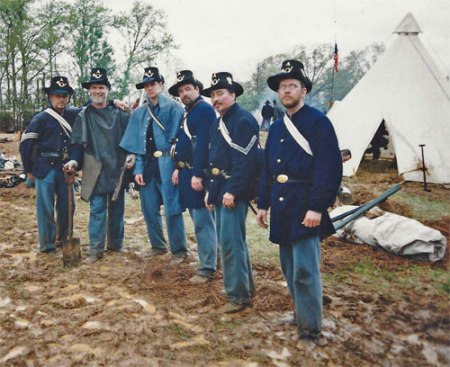 33rd Wisconsin Infantry reenactors at a reenactment of the Battle of Shiloh, Tennessee. Photographer unknown.